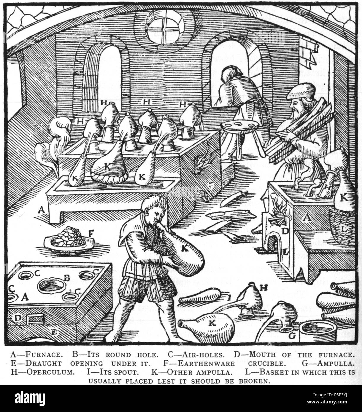 N/A. Woodcut illustration from De re metallica by Georgius Agricola. This is a 300dpi scan from the 1950 Dover edition of the 1913 Hoover translation of the 1556 reference. The Dover edition has slightly smaller size prints than the Hoover (which is a rare book). The woodcuts were recreated for the 1913 printing. Filenames (except for the title page) indicate the chapter (2, 3, 5, etc.) followed by the sequential number of the illustration. 2 May 2005, 06:04:18. TCO (talk) 222 Book10-1 - Stock Image