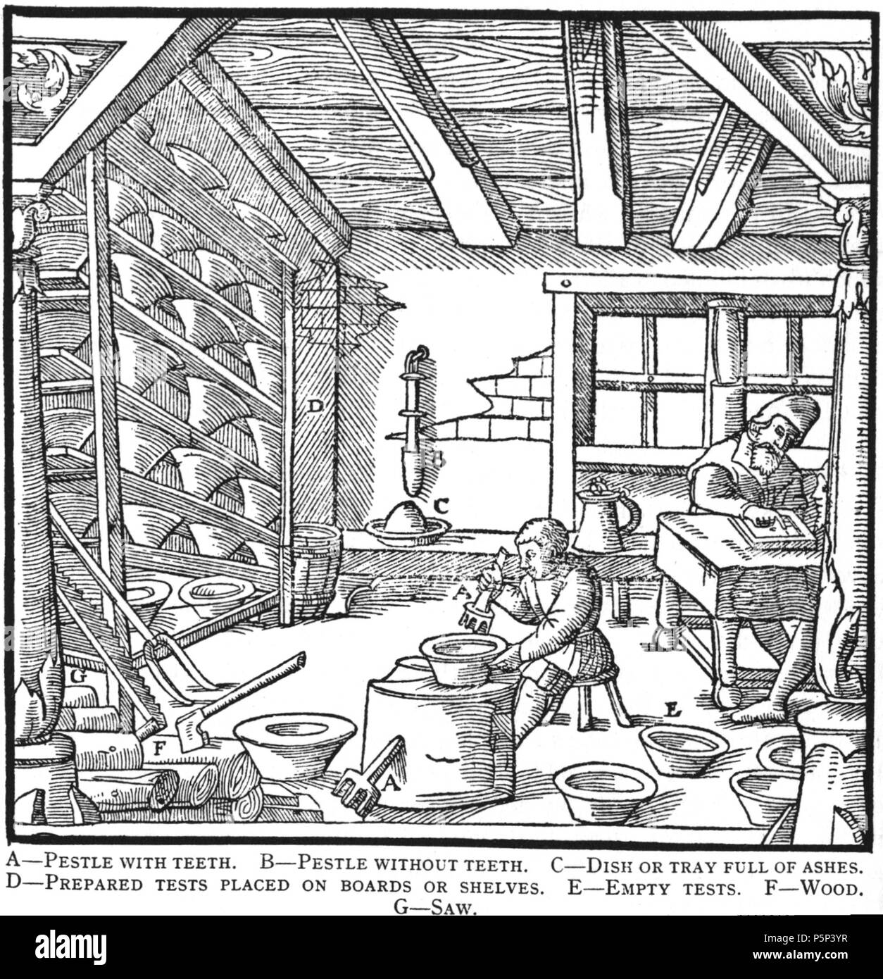 N/A. Woodcut illustration from De re metallica by Georgius Agricola. This is a 300dpi scan from the 1950 Dover edition of the 1913 Hoover translation of the 1556 reference. The Dover edition has slightly smaller size prints than the Hoover (which is a rare book). The woodcuts were recreated for the 1913 printing. Filenames (except for the title page) indicate the chapter (2, 3, 5, etc.) followed by the sequential number of the illustration. 2 May 2005, 06:04:28. TCO (talk) 222 Book10-13 - Stock Image