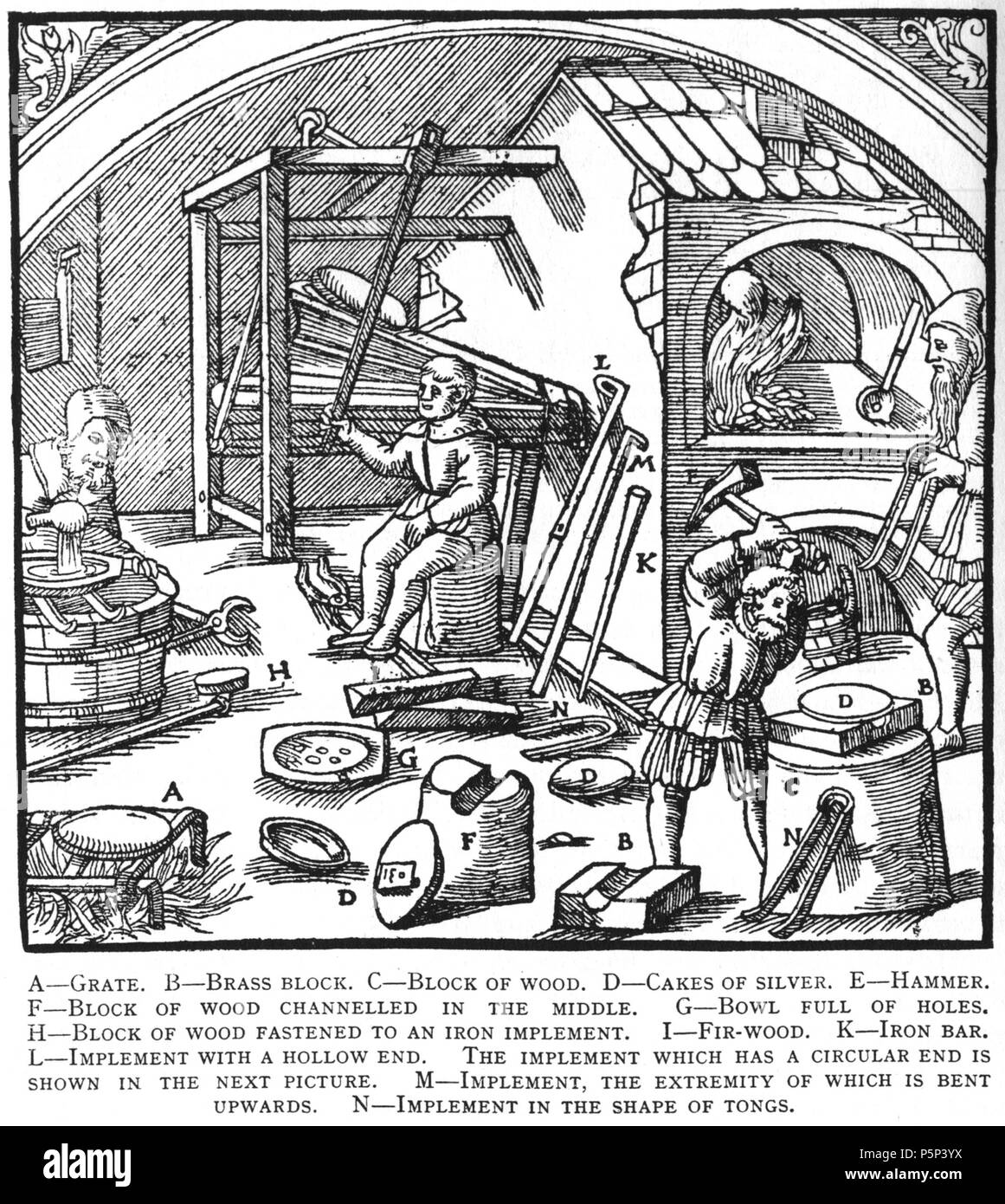 N/A. Woodcut illustration from De re metallica by Georgius Agricola. This is a 300dpi scan from the 1950 Dover edition of the 1913 Hoover translation of the 1556 reference. The Dover edition has slightly smaller size prints than the Hoover (which is a rare book). The woodcuts were recreated for the 1913 printing. Filenames (except for the title page) indicate the chapter (2, 3, 5, etc.) followed by the sequential number of the illustration. 2 May 2005, 06:04:30. TCO (talk) 222 Book10-15 - Stock Image