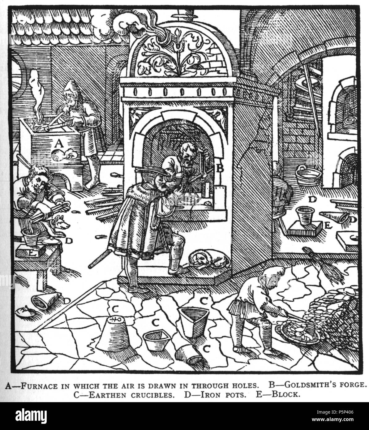 N/A. Woodcut illustration from De re metallica by Georgius Agricola. This is a 300dpi scan from the 1950 Dover edition of the 1913 Hoover translation of the 1556 reference. The Dover edition has slightly smaller size prints than the Hoover (which is a rare book). The woodcuts were recreated for the 1913 printing. Filenames (except for the title page) indicate the chapter (2, 3, 5, etc.) followed by the sequential number of the illustration. 2 May 2005, 06:04:20. TCO (talk) 222 Book10-4 - Stock Image