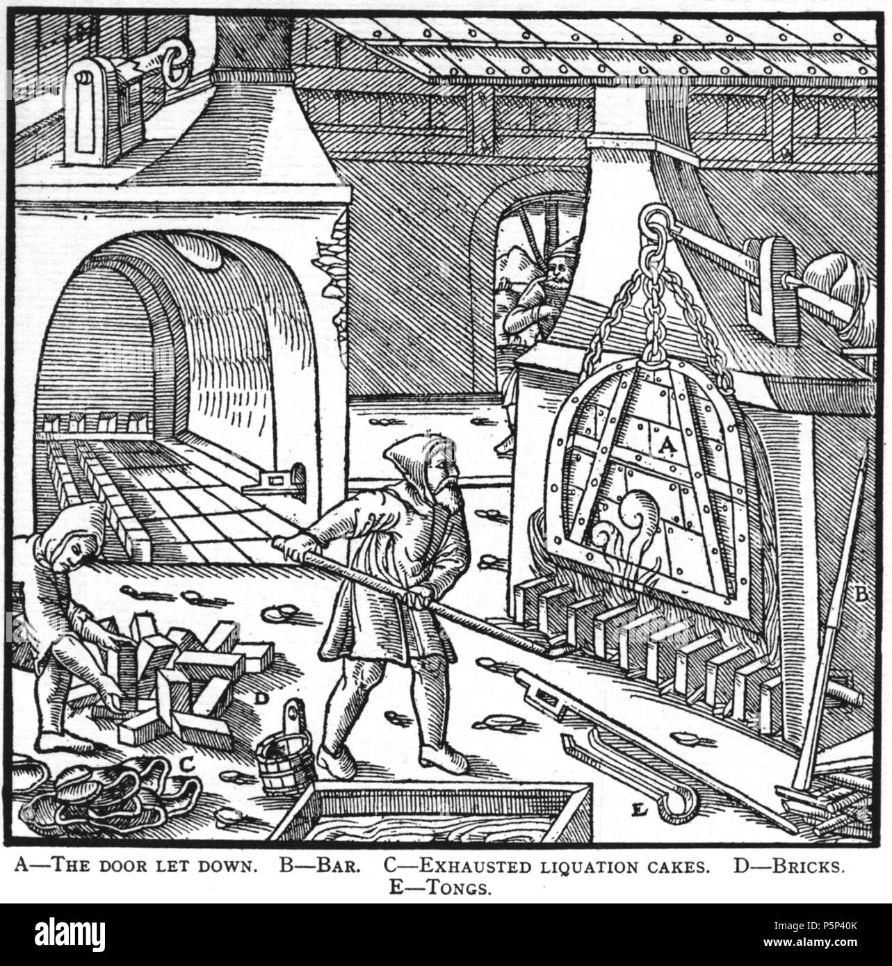 N/A. Woodcut illustration from De re metallica by Georgius Agricola. This is a 300dpi scan from the 1950 Dover edition of the 1913 Hoover translation of the 1556 reference. The Dover edition has slightly smaller size prints than the Hoover (which is a rare book). The woodcuts were recreated for the 1913 printing. Filenames (except for the title page) indicate the chapter (2, 3, 5, etc.) followed by the sequential number of the illustration. 2 May 2005, 06:55:48. TCO (talk) 222 Book11-12 - Stock Image