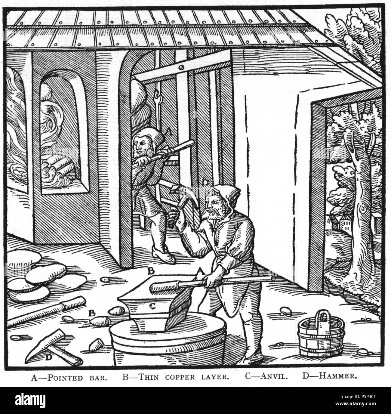 N/A. Woodcut illustration from De re metallica by Georgius Agricola. This is a 300dpi scan from the 1950 Dover edition of the 1913 Hoover translation of the 1556 reference. The Dover edition has slightly smaller size prints than the Hoover (which is a rare book). The woodcuts were recreated for the 1913 printing. Filenames (except for the title page) indicate the chapter (2, 3, 5, etc.) followed by the sequential number of the illustration. 2 May 2005, 06:55:50. TCO (talk) 222 Book11-16 - Stock Image