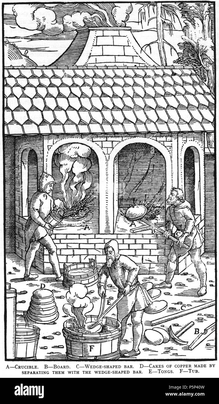 N/A. Woodcut illustration from De re metallica by Georgius Agricola. This is a 300dpi scan from the 1950 Dover edition of the 1913 Hoover translation of the 1556 reference. The Dover edition has slightly smaller size prints than the Hoover (which is a rare book). The woodcuts were recreated for the 1913 printing. Filenames (except for the title page) indicate the chapter (2, 3, 5, etc.) followed by the sequential number of the illustration. 2 May 2005, 06:55:52. TCO (talk) 222 Book11-17 - Stock Image