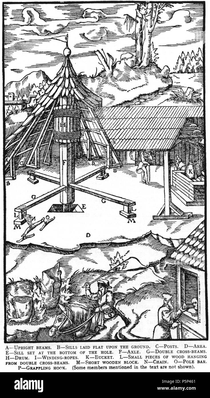 N/A. Woodcut illustration from De re metallica by Georgius Agricola. This is a 300dpi scan from the 1950 Dover edition of the 1913 Hoover translation of the 1556 reference. The Dover edition has slightly smaller size prints than the Hoover (which is a rare book). The woodcuts were recreated for the 1913 printing. Filenames (except for the title page) indicate the chapter (2, 3, 5, etc.) followed by the sequential number of the illustration. 2 May 2005, 07:06:12. TCO (talk) 223 Book6-15 - Stock Image