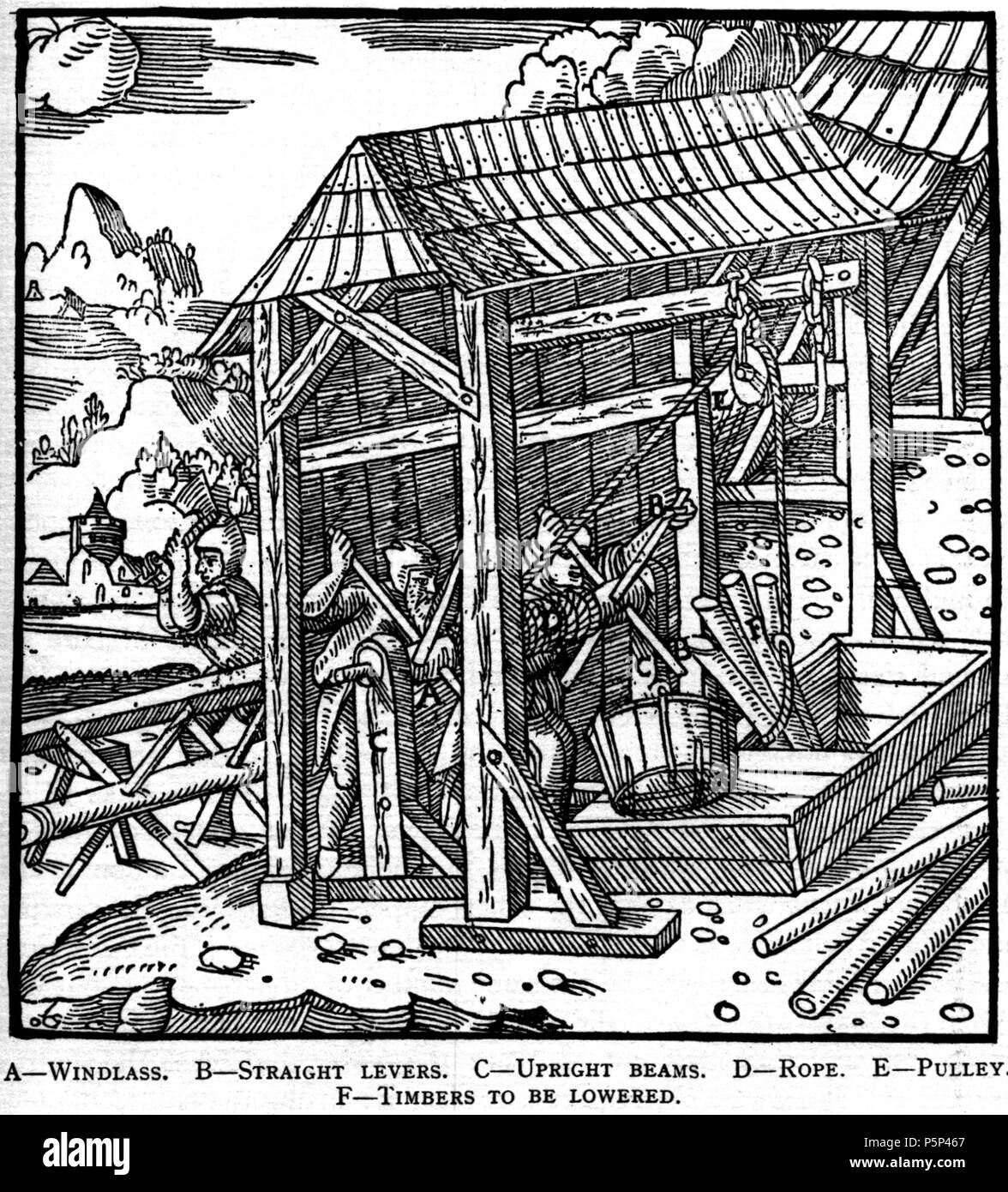 N/A. Woodcut illustration from De re metallica by Georgius Agricola. This is a 300dpi scan from the 1950 Dover edition of the 1913 Hoover translation of the 1556 reference. The Dover edition has slightly smaller size prints than the Hoover (which is a rare book). The woodcuts were recreated for the 1913 printing. Filenames (except for the title page) indicate the chapter (2, 3, 5, etc.) followed by the sequential number of the illustration. 2 May 2005, 07:06:16. TCO (talk) 223 Book6-19 - Stock Image