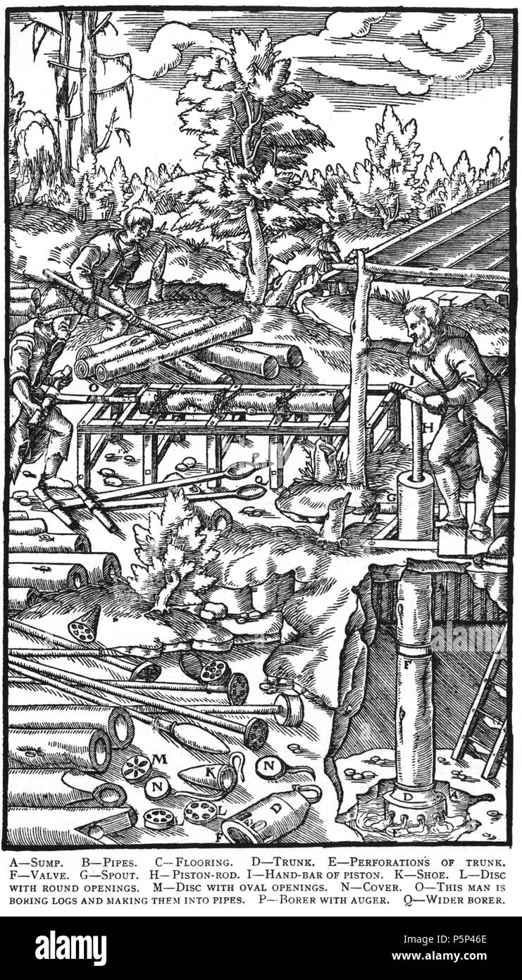 N/A. Woodcut illustration from De re metallica by Georgius Agricola. This is a 300dpi scan from the 1950 Dover edition of the 1913 Hoover translation of the 1556 reference. The Dover edition has slightly smaller size prints than the Hoover (which is a rare book). The woodcuts were recreated for the 1913 printing. Filenames (except for the title page) indicate the chapter (2, 3, 5, etc.) followed by the sequential number of the illustration. 2 May 2005, 07:06:20. TCO (talk) 223 Book6-23 - Stock Image