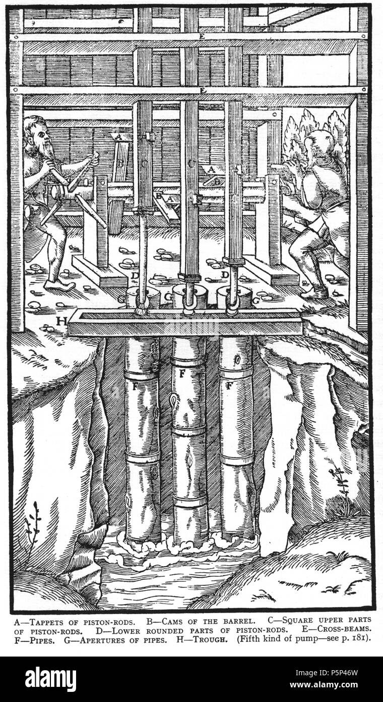 N/A. Woodcut illustration from De re metallica by Georgius Agricola. This is a 300dpi scan from the 1950 Dover edition of the 1913 Hoover translation of the 1556 reference. The Dover edition has slightly smaller size prints than the Hoover (which is a rare book). The woodcuts were recreated for the 1913 printing. Filenames (except for the title page) indicate the chapter (2, 3, 5, etc.) followed by the sequential number of the illustration. 2 May 2005, 07:06:24. TCO (talk) 223 Book6-27 - Stock Image