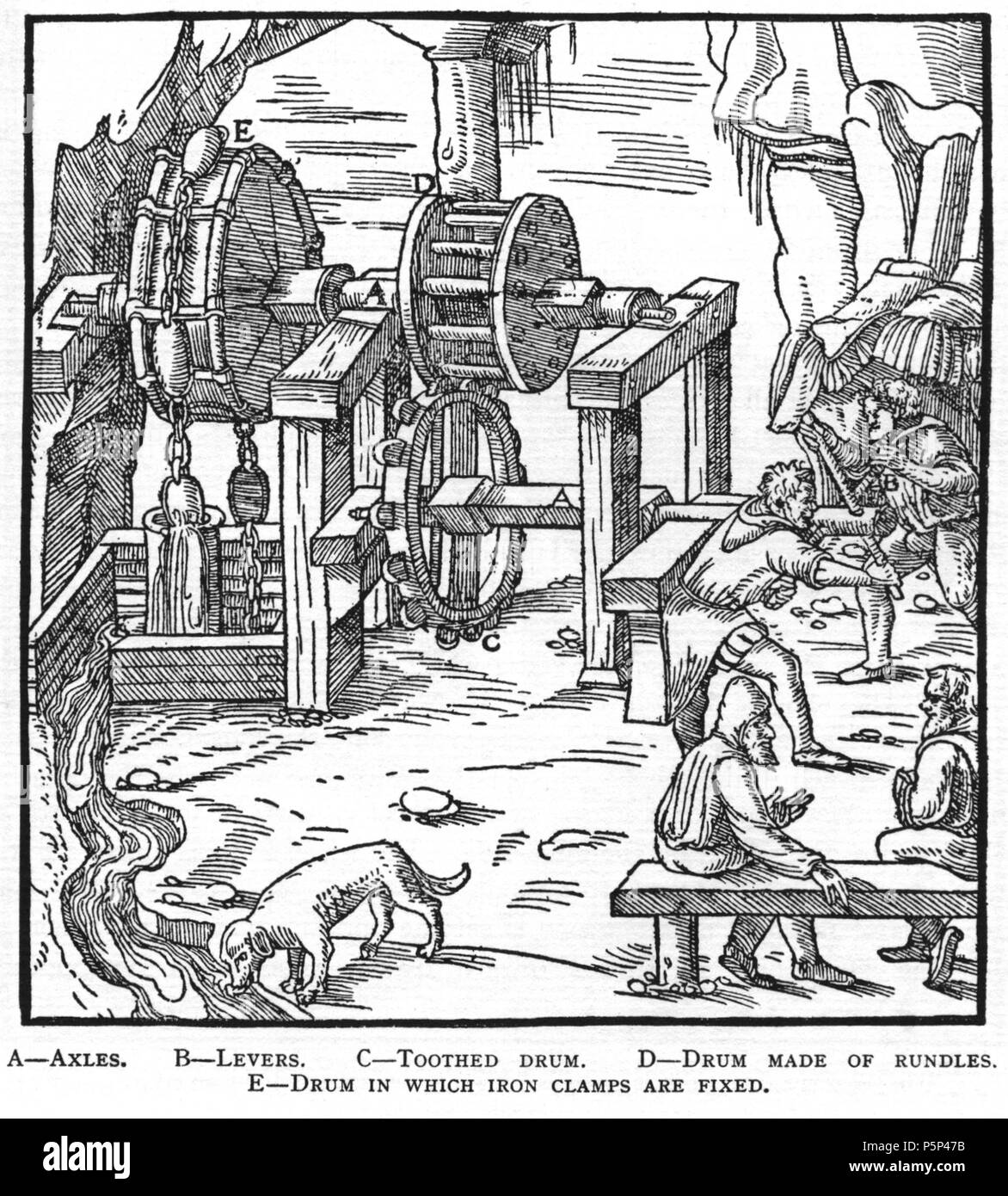 N/A. Woodcut illustration from De re metallica by Georgius Agricola. This is a 300dpi scan from the 1950 Dover edition of the 1913 Hoover translation of the 1556 reference. The Dover edition has slightly smaller size prints than the Hoover (which is a rare book). The woodcuts were recreated for the 1913 printing. Filenames (except for the title page) indicate the chapter (2, 3, 5, etc.) followed by the sequential number of the illustration. 2 May 2005, 07:06:32. TCO (talk) 223 Book6-35 - Stock Image
