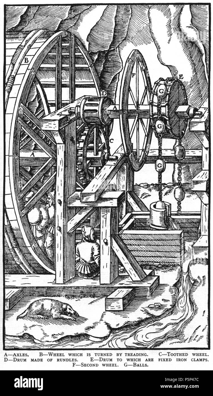 N/A. Woodcut illustration from De re metallica by Georgius Agricola. This is a 300dpi scan from the 1950 Dover edition of the 1913 Hoover translation of the 1556 reference. The Dover edition has slightly smaller size prints than the Hoover (which is a rare book). The woodcuts were recreated for the 1913 printing. Filenames (except for the title page) indicate the chapter (2, 3, 5, etc.) followed by the sequential number of the illustration. 2 May 2005, 07:06:34. TCO (talk) 223 Book6-36 - Stock Image