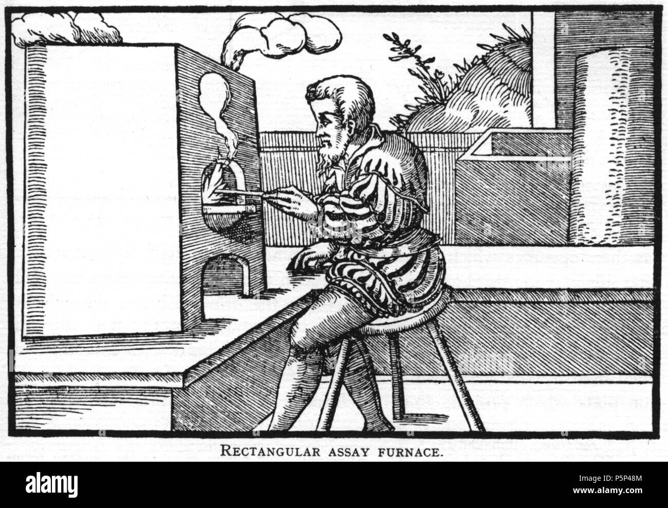 N/A. Woodcut illustration from De re metallica by Georgius Agricola. This is a 300dpi scan from the 1950 Dover edition of the 1913 Hoover translation of the 1556 reference. The Dover edition has slightly smaller size prints than the Hoover (which is a rare book). The woodcuts were recreated for the 1913 printing. Filenames (except for the title page) indicate the chapter (2, 3, 5, etc.) followed by the sequential number of the illustration. 2 May 2005, 07:08:56. TCO (talk) 223 Book7-2 - Stock Image