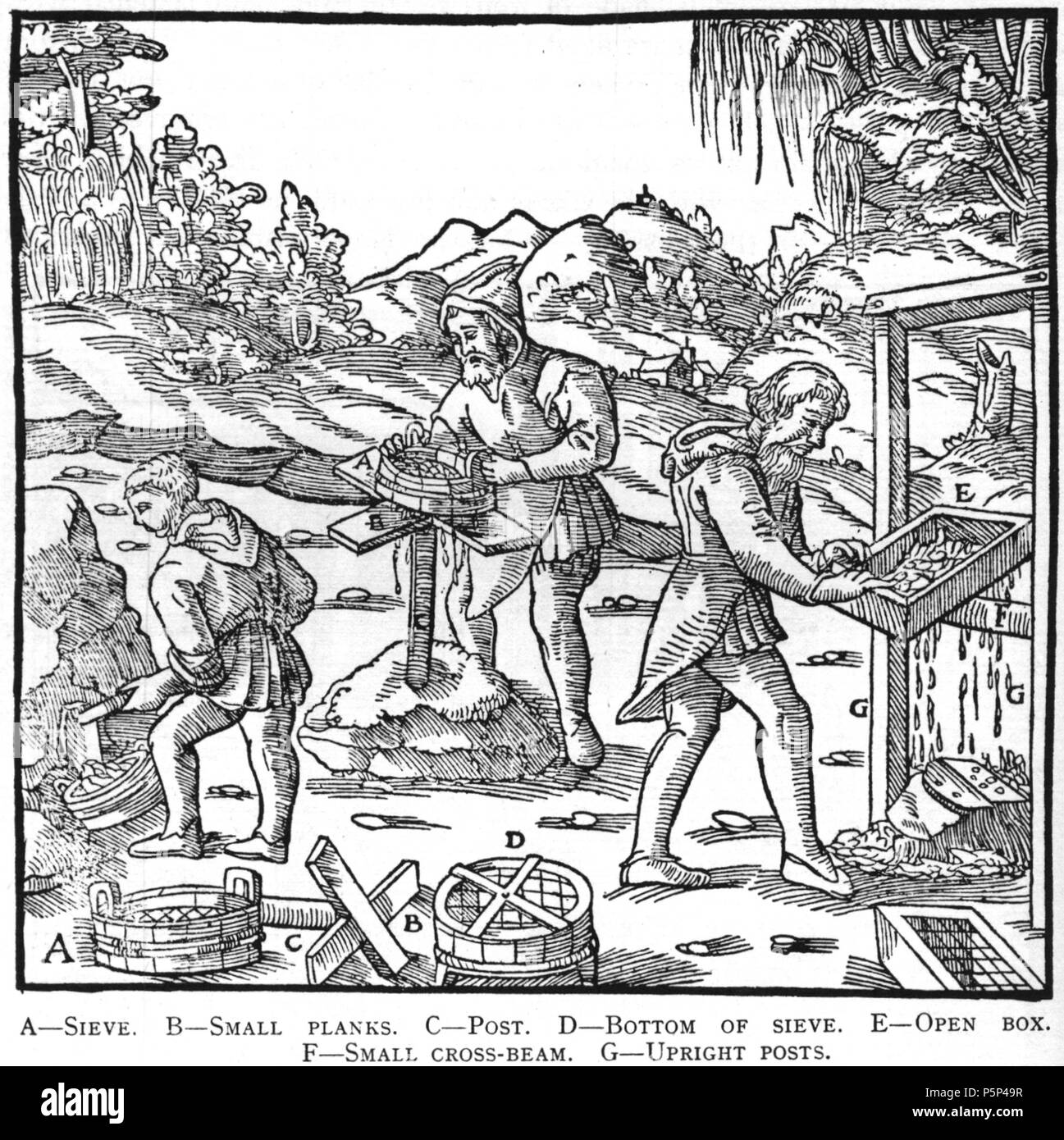 N/A. Woodcut illustration from De re metallica by Georgius Agricola. This is a 300dpi scan from the 1950 Dover edition of the 1913 Hoover translation of the 1556 reference. The Dover edition has slightly smaller size prints than the Hoover (which is a rare book). The woodcuts were recreated for the 1913 printing. Filenames (except for the title page) indicate the chapter (2, 3, 5, etc.) followed by the sequential number of the illustration. 2 May 2005, 07:12:54. TCO (talk) 223 Book8-15 - Stock Image