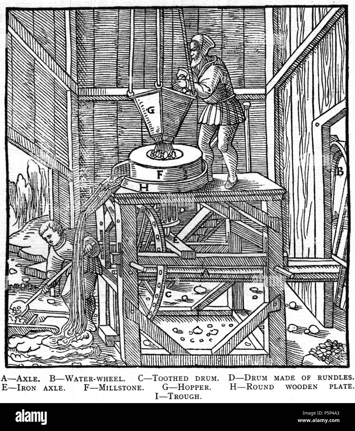 N/A. Woodcut illustration from De re metallica by Georgius Agricola. This is a 300dpi scan from the 1950 Dover edition of the 1913 Hoover translation of the 1556 reference. The Dover edition has slightly smaller size prints than the Hoover (which is a rare book). The woodcuts were recreated for the 1913 printing. Filenames (except for the title page) indicate the chapter (2, 3, 5, etc.) followed by the sequential number of the illustration. 2 May 2005, 07:12:58. TCO (talk) 223 Book8-20 - Stock Image