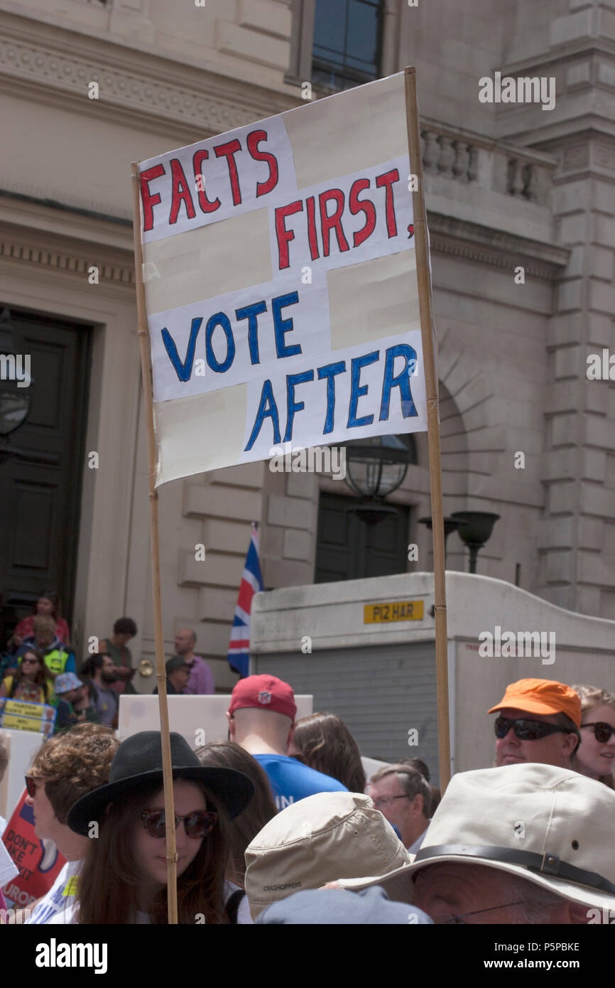 People's Vote March, London, UK, 23rd June 2018. Banner: Facts First, Vote After. - Stock Image