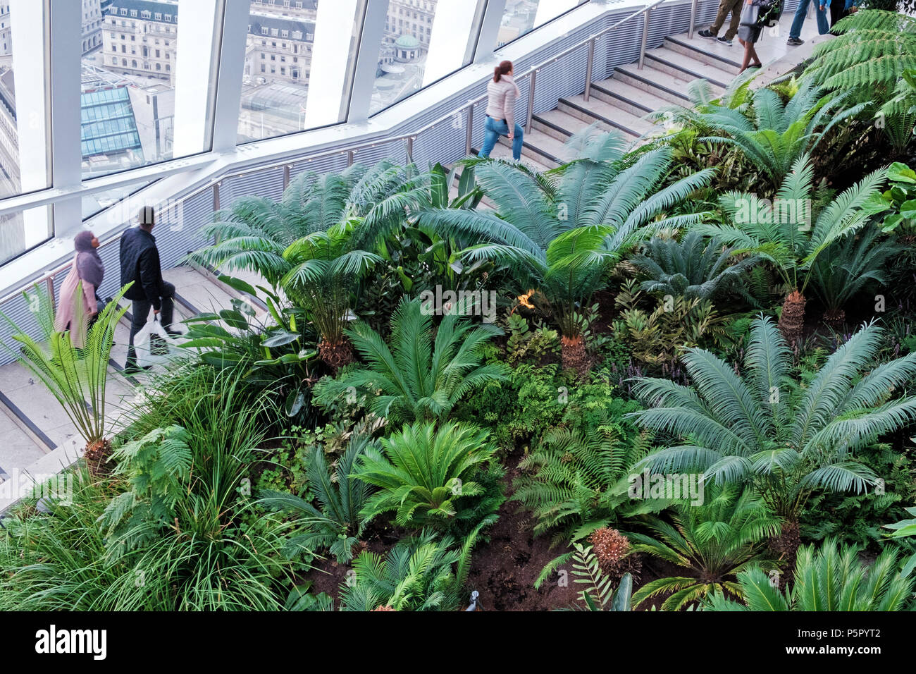 Plants & foliage at the Sky Garden, 20 Fenchurch St. Known as the Walkie Talkie. People on stairs. Windows with view of London. Horizontal. - Stock Image