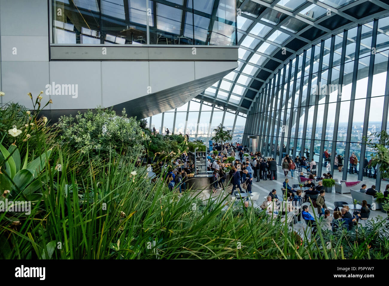 People socializing, taking refreshments and enjoying the view at  the Sky Garden, 20 Fenchurch St. Known as the Walkie Talkie. Foliage in foreground. - Stock Image