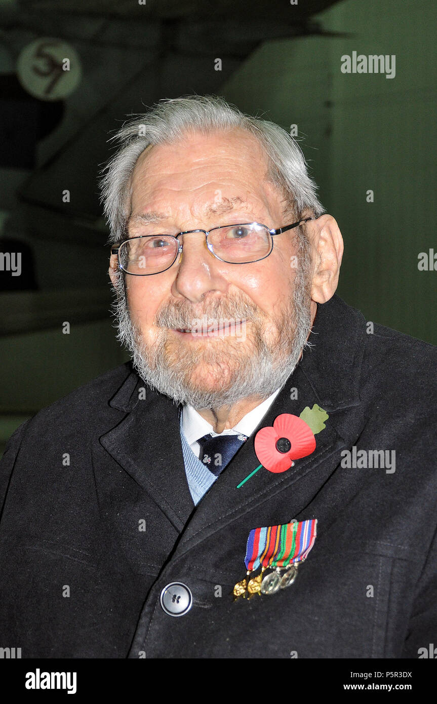 John Milne, Battle of Britain veteran at Duxford where he served with 19 squadron as ground crew fitter. Remembrance Sunday event with poppy - Stock Image