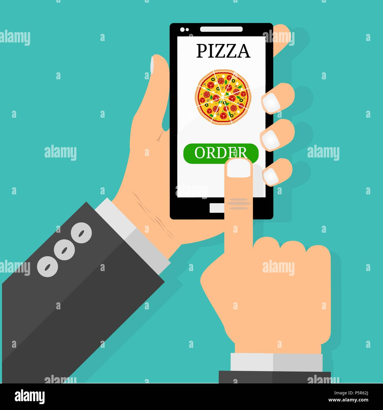 Hand holding smartphone with pizza on the screen  Order fast