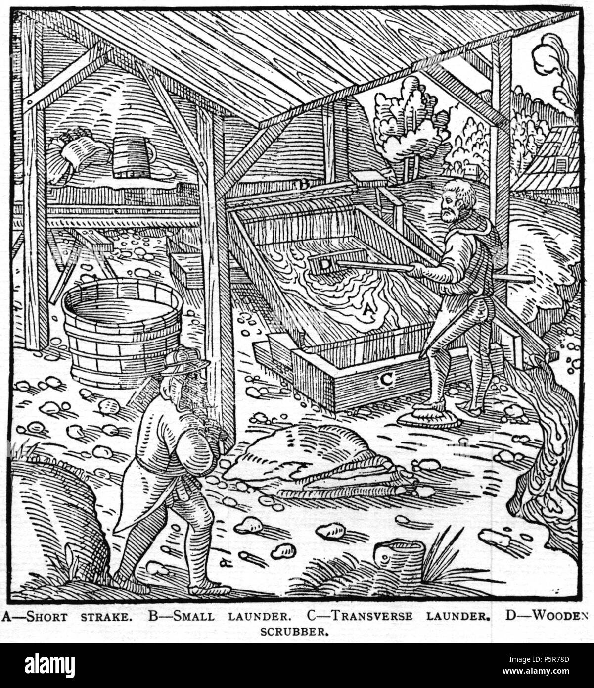 N/A. Woodcut illustration from De re metallica by Georgius Agricola. This is a 300dpi scan from the 1950 Dover edition of the 1913 Hoover translation of the 1556 reference. The Dover edition has slightly smaller size prints than the Hoover (which is a rare book). The woodcuts were recreated for the 1913 printing. Filenames (except for the title page) indicate the chapter (2, 3, 5, etc.) followed by the sequential number of the illustration. 2 May 2005, 07:13:06. TCO (talk) 223 Book8-28 - Stock Image