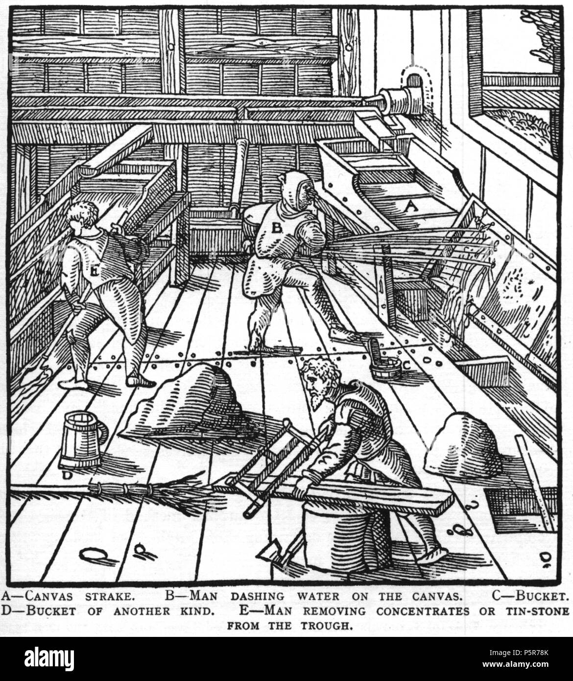 N/A. Woodcut illustration from De re metallica by Georgius Agricola. This is a 300dpi scan from the 1950 Dover edition of the 1913 Hoover translation of the 1556 reference. The Dover edition has slightly smaller size prints than the Hoover (which is a rare book). The woodcuts were recreated for the 1913 printing. Filenames (except for the title page) indicate the chapter (2, 3, 5, etc.) followed by the sequential number of the illustration. 2 May 2005, 07:13:08. TCO (talk) 223 Book8-30 - Stock Image
