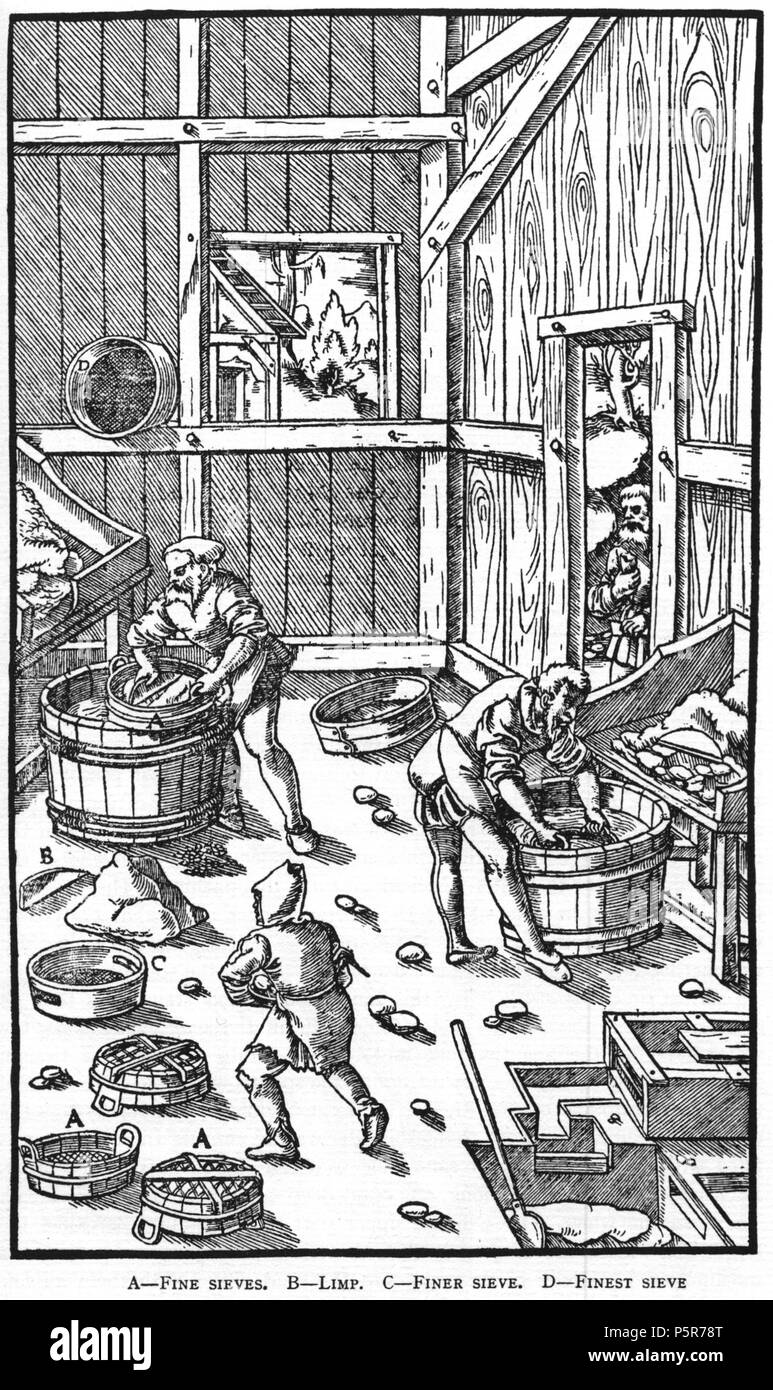 N/A. Woodcut illustration from De re metallica by Georgius Agricola. This is a 300dpi scan from the 1950 Dover edition of the 1913 Hoover translation of the 1556 reference. The Dover edition has slightly smaller size prints than the Hoover (which is a rare book). The woodcuts were recreated for the 1913 printing. Filenames (except for the title page) indicate the chapter (2, 3, 5, etc.) followed by the sequential number of the illustration. 2 May 2005, 07:13:10. TCO (talk) 223 Book8-31 - Stock Image