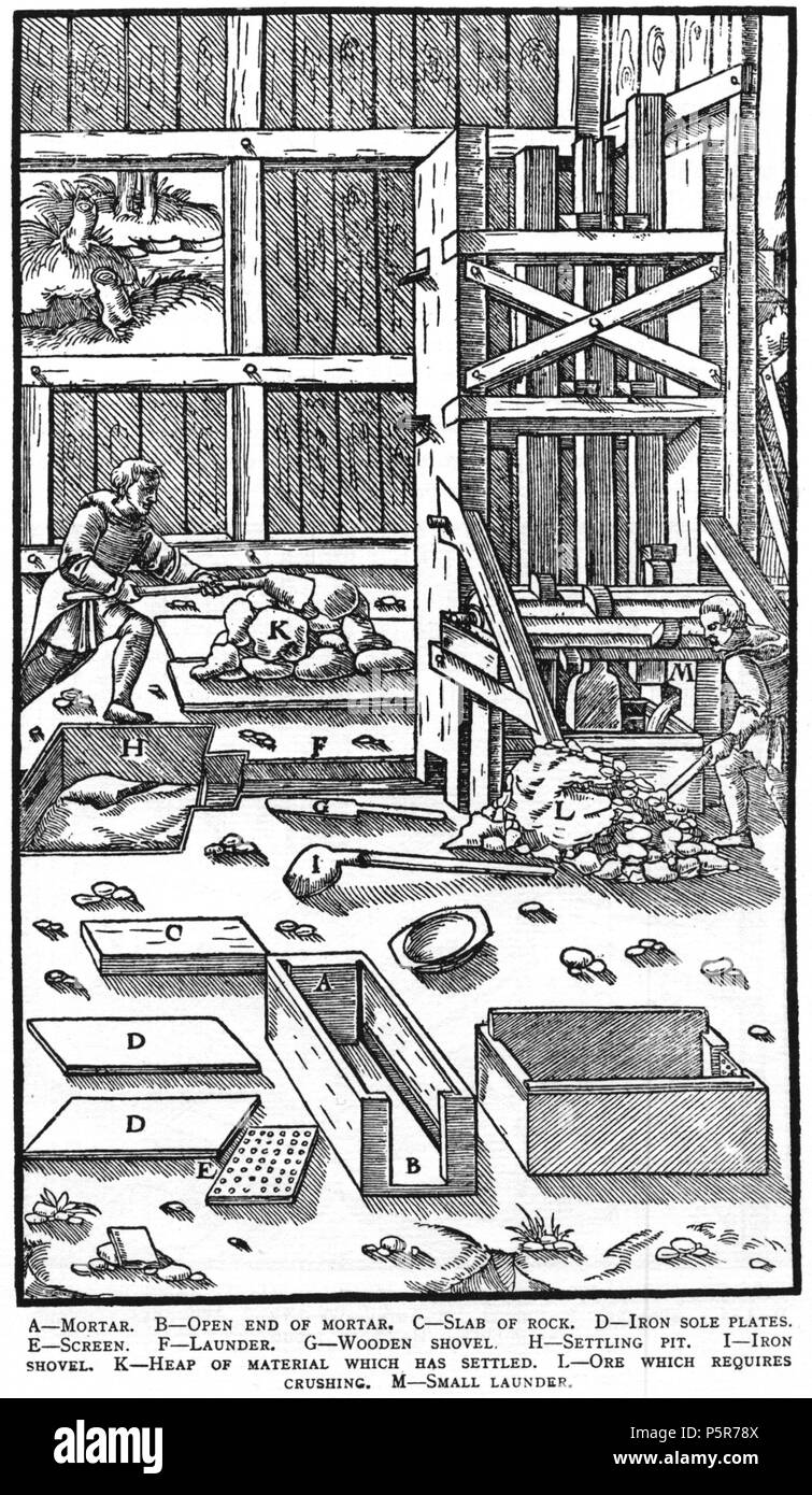 N/A. Woodcut illustration from De re metallica by Georgius Agricola. This is a 300dpi scan from the 1950 Dover edition of the 1913 Hoover translation of the 1556 reference. The Dover edition has slightly smaller size prints than the Hoover (which is a rare book). The woodcuts were recreated for the 1913 printing. Filenames (except for the title page) indicate the chapter (2, 3, 5, etc.) followed by the sequential number of the illustration. 2 May 2005, 07:13:10. TCO (talk) 223 Book8-32 - Stock Image