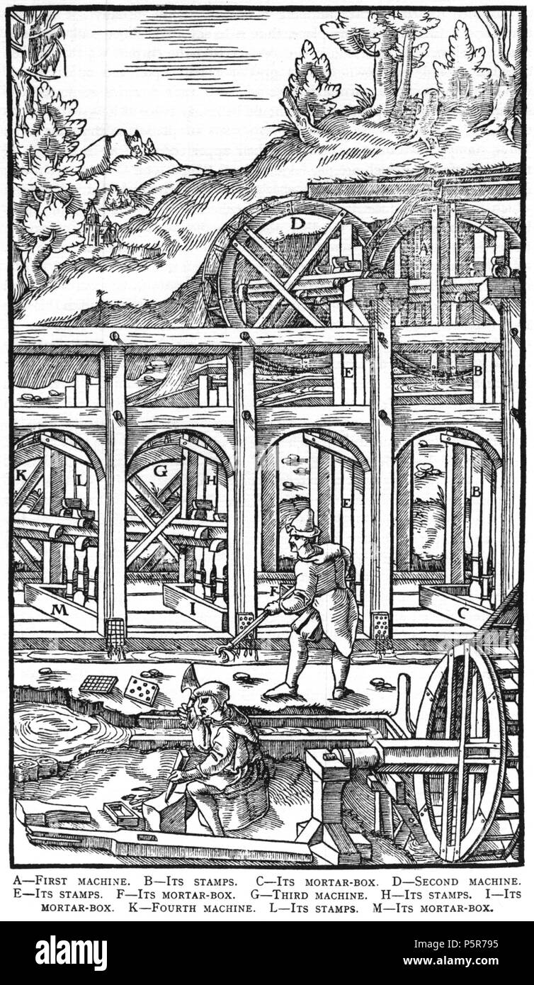 N/A. Woodcut illustration from De re metallica by Georgius Agricola. This is a 300dpi scan from the 1950 Dover edition of the 1913 Hoover translation of the 1556 reference. The Dover edition has slightly smaller size prints than the Hoover (which is a rare book). The woodcuts were recreated for the 1913 printing. Filenames (except for the title page) indicate the chapter (2, 3, 5, etc.) followed by the sequential number of the illustration. 2 May 2005, 07:13:14. TCO (talk) 223 Book8-37 - Stock Image
