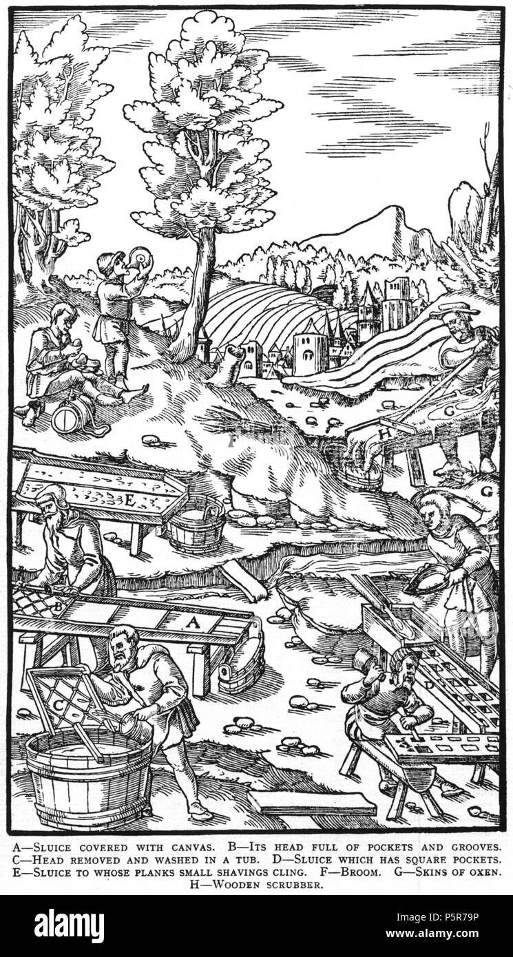 N/A. Woodcut illustration from De re metallica by Georgius Agricola. This is a 300dpi scan from the 1950 Dover edition of the 1913 Hoover translation of the 1556 reference. The Dover edition has slightly smaller size prints than the Hoover (which is a rare book). The woodcuts were recreated for the 1913 printing. Filenames (except for the title page) indicate the chapter (2, 3, 5, etc.) followed by the sequential number of the illustration. 2 May 2005, 07:13:20. TCO (talk) 223 Book8-45 - Stock Image