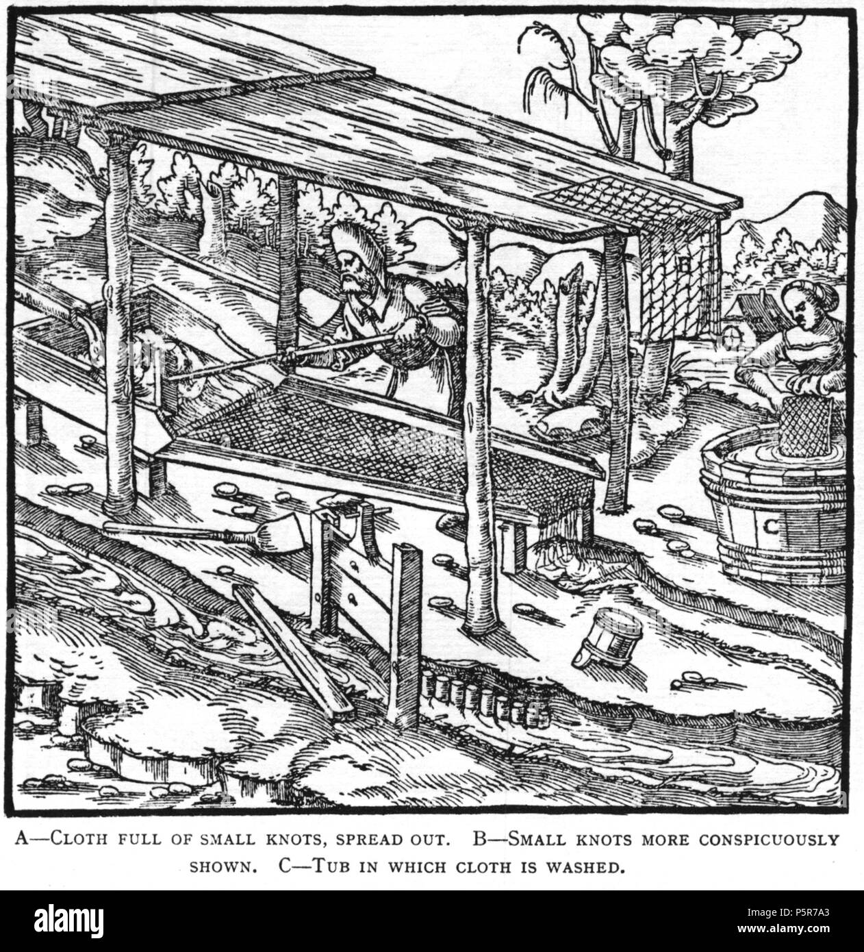 N/A. Woodcut illustration from De re metallica by Georgius Agricola. This is a 300dpi scan from the 1950 Dover edition of the 1913 Hoover translation of the 1556 reference. The Dover edition has slightly smaller size prints than the Hoover (which is a rare book). The woodcuts were recreated for the 1913 printing. Filenames (except for the title page) indicate the chapter (2, 3, 5, etc.) followed by the sequential number of the illustration. 2 May 2005, 07:13:22. TCO (talk) 223 Book8-48 - Stock Image