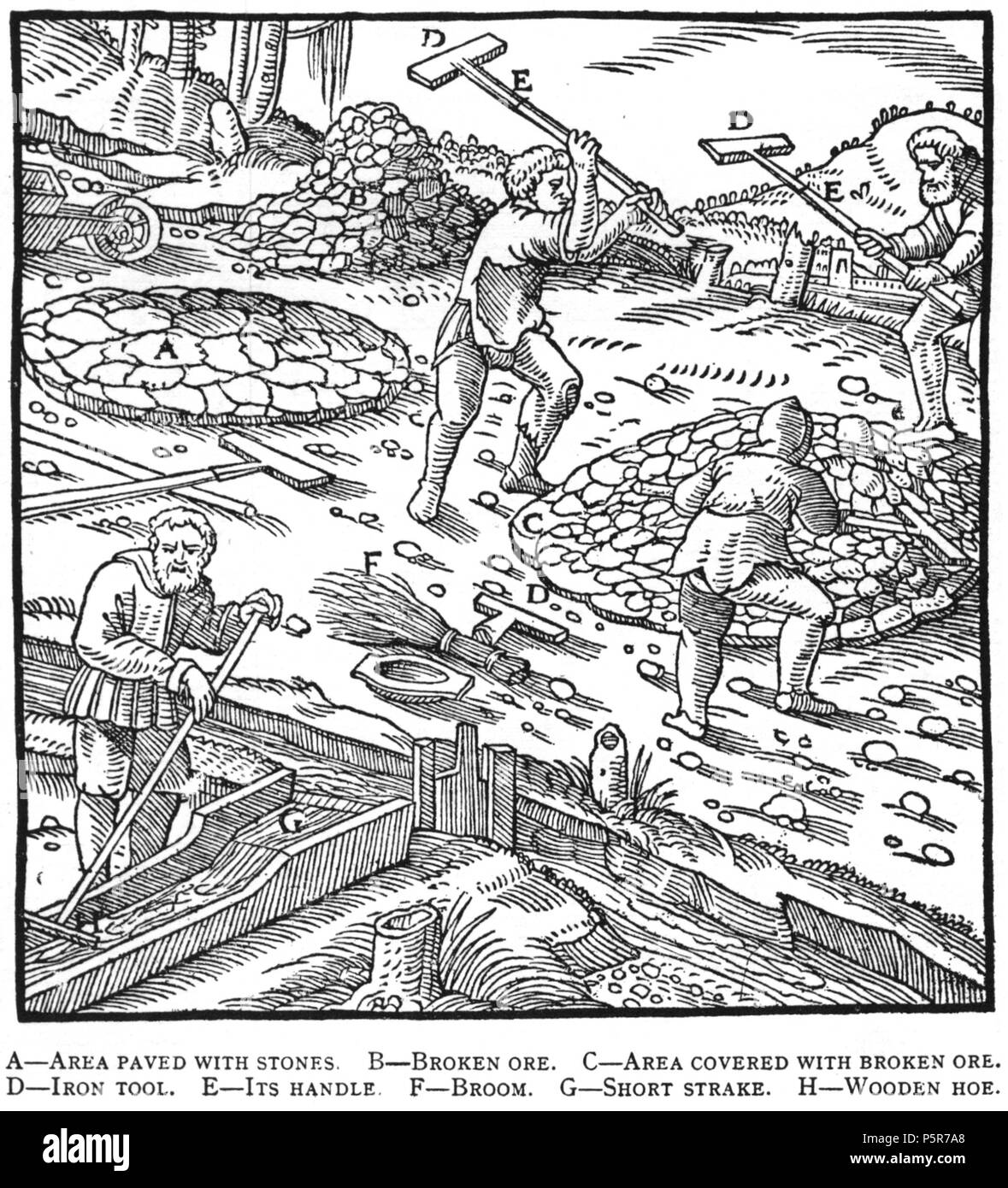 N/A. Woodcut illustration from De re metallica by Georgius Agricola. This is a 300dpi scan from the 1950 Dover edition of the 1913 Hoover translation of the 1556 reference. The Dover edition has slightly smaller size prints than the Hoover (which is a rare book). The woodcuts were recreated for the 1913 printing. Filenames (except for the title page) indicate the chapter (2, 3, 5, etc.) followed by the sequential number of the illustration. 2 May 2005, 07:13:24. TCO (talk) 223 Book8-5 - Stock Image