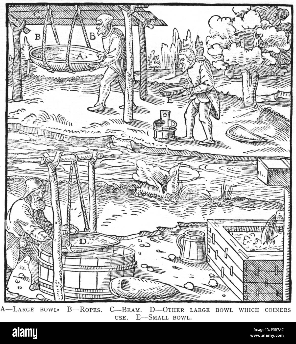 N/A. Woodcut illustration from De re metallica by Georgius Agricola. This is a 300dpi scan from the 1950 Dover edition of the 1913 Hoover translation of the 1556 reference. The Dover edition has slightly smaller size prints than the Hoover (which is a rare book). The woodcuts were recreated for the 1913 printing. Filenames (except for the title page) indicate the chapter (2, 3, 5, etc.) followed by the sequential number of the illustration. 2 May 2005, 07:13:26. TCO (talk) 223 Book8-52 - Stock Image