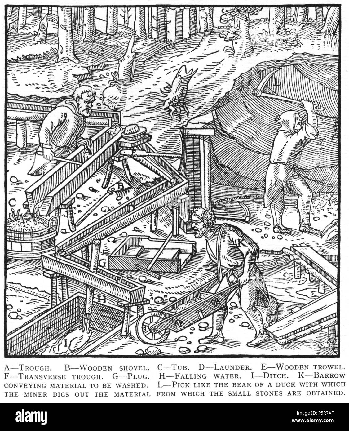 N/A. Woodcut illustration from De re metallica by Georgius Agricola. This is a 300dpi scan from the 1950 Dover edition of the 1913 Hoover translation of the 1556 reference. The Dover edition has slightly smaller size prints than the Hoover (which is a rare book). The woodcuts were recreated for the 1913 printing. Filenames (except for the title page) indicate the chapter (2, 3, 5, etc.) followed by the sequential number of the illustration. 2 May 2005, 07:13:28. TCO (talk) 223 Book8-54 - Stock Image