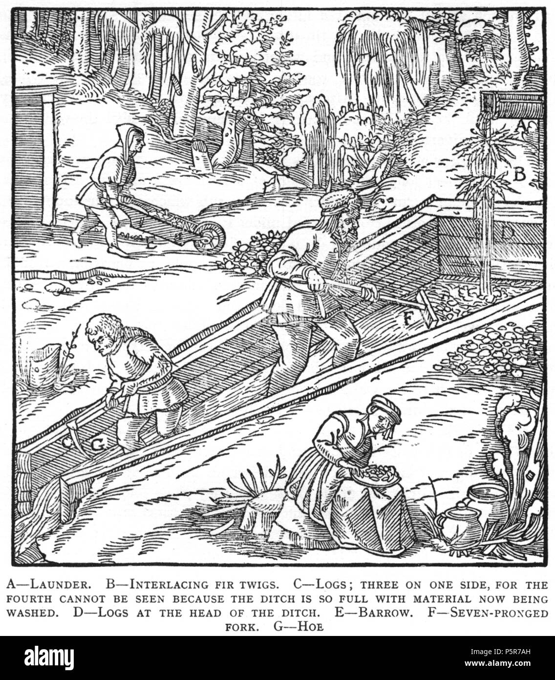 N/A. Woodcut illustration from De re metallica by Georgius Agricola. This is a 300dpi scan from the 1950 Dover edition of the 1913 Hoover translation of the 1556 reference. The Dover edition has slightly smaller size prints than the Hoover (which is a rare book). The woodcuts were recreated for the 1913 printing. Filenames (except for the title page) indicate the chapter (2, 3, 5, etc.) followed by the sequential number of the illustration. 2 May 2005, 07:13:28. TCO (talk) 223 Book8-55 - Stock Image