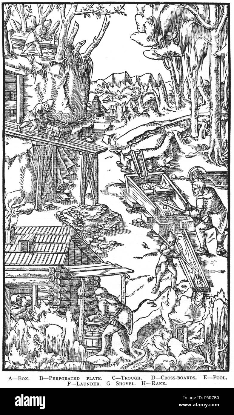 N/A. Woodcut illustration from De re metallica by Georgius Agricola. This is a 300dpi scan from the 1950 Dover edition of the 1913 Hoover translation of the 1556 reference. The Dover edition has slightly smaller size prints than the Hoover (which is a rare book). The woodcuts were recreated for the 1913 printing. Filenames (except for the title page) indicate the chapter (2, 3, 5, etc.) followed by the sequential number of the illustration. 2 May 2005, 07:13:32. TCO (talk) 223 Book8-58 - Stock Image