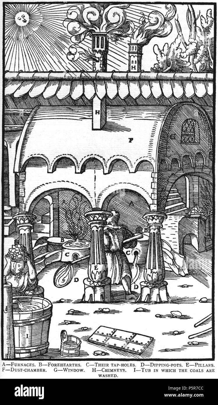 N/A. Woodcut illustration from De re metallica by Georgius Agricola. This is a 300dpi scan from the 1950 Dover edition of the 1913 Hoover translation of the 1556 reference. The Dover edition has slightly smaller size prints than the Hoover (which is a rare book). The woodcuts were recreated for the 1913 printing. Filenames (except for the title page) indicate the chapter (2, 3, 5, etc.) followed by the sequential number of the illustration. 2 May 2005, 07:11:52. TCO (talk) 223 Book9-20 - Stock Image