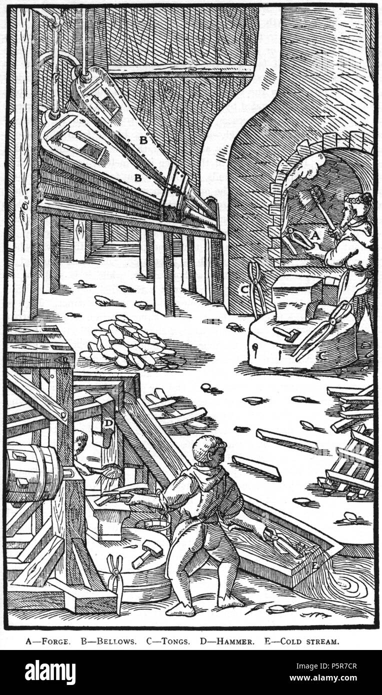 N/A. Woodcut illustration from De re metallica by Georgius Agricola. This is a 300dpi scan from the 1950 Dover edition of the 1913 Hoover translation of the 1556 reference. The Dover edition has slightly smaller size prints than the Hoover (which is a rare book). The woodcuts were recreated for the 1913 printing. Filenames (except for the title page) indicate the chapter (2, 3, 5, etc.) followed by the sequential number of the illustration. 2 May 2005, 07:11:58. TCO (talk) 223 Book9-25 - Stock Image