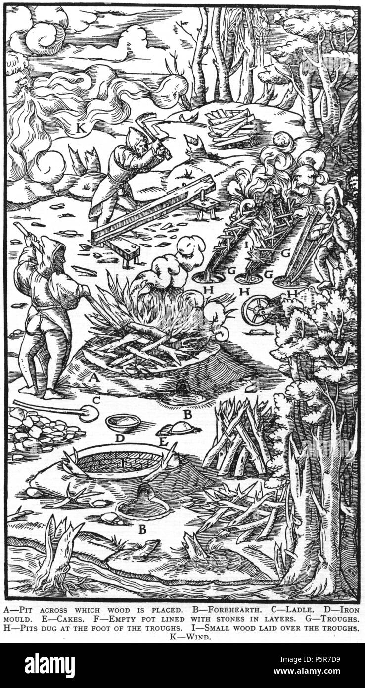 N/A. Woodcut illustration from De re metallica by Georgius Agricola. This is a 300dpi scan from the 1950 Dover edition of the 1913 Hoover translation of the 1556 reference. The Dover edition has slightly smaller size prints than the Hoover (which is a rare book). The woodcuts were recreated for the 1913 printing. Filenames (except for the title page) indicate the chapter (2, 3, 5, etc.) followed by the sequential number of the illustration. 2 May 2005, 07:12:02. TCO (talk) 223 Book9-31 - Stock Image