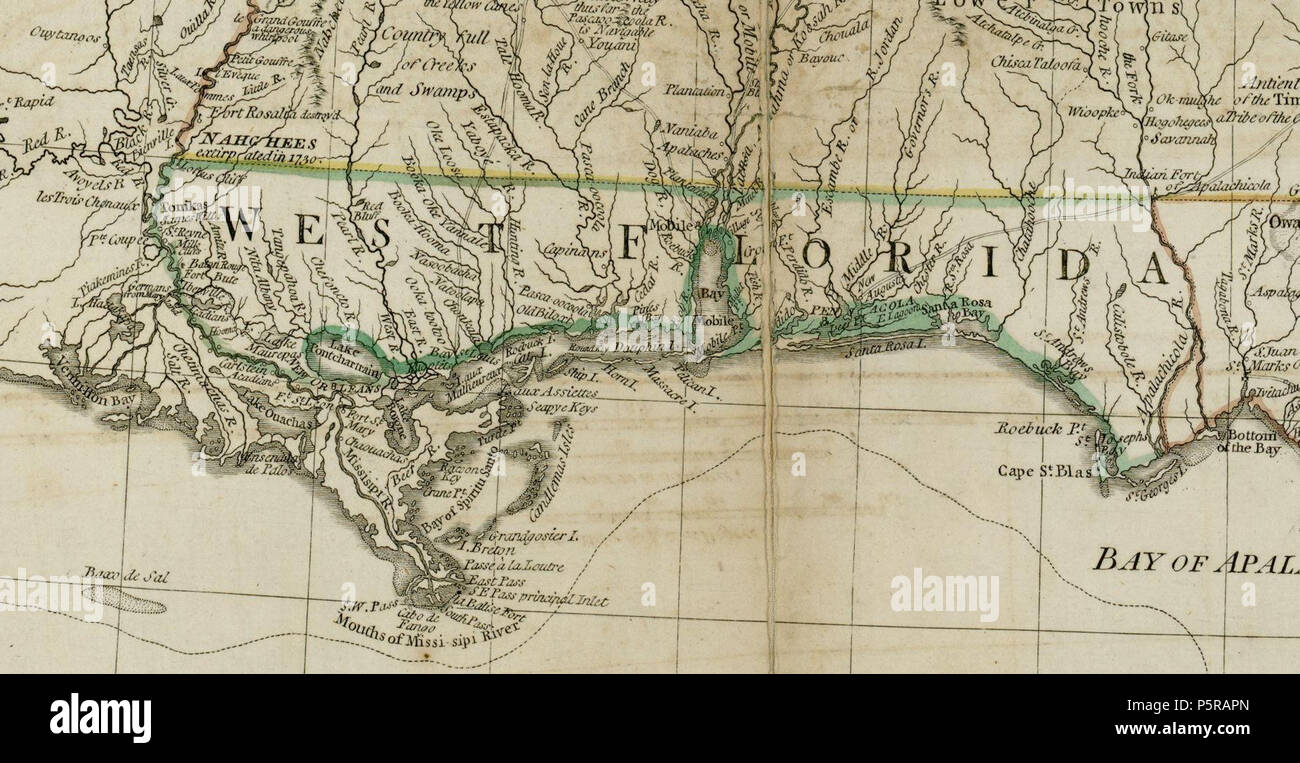 Map Of Southern Florida Gulf Side.N A English The Source Map Depicts The Southern British Colonies