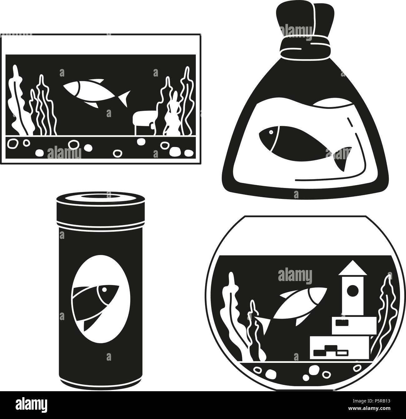 Black and white fish elements silhouette set - Stock Image