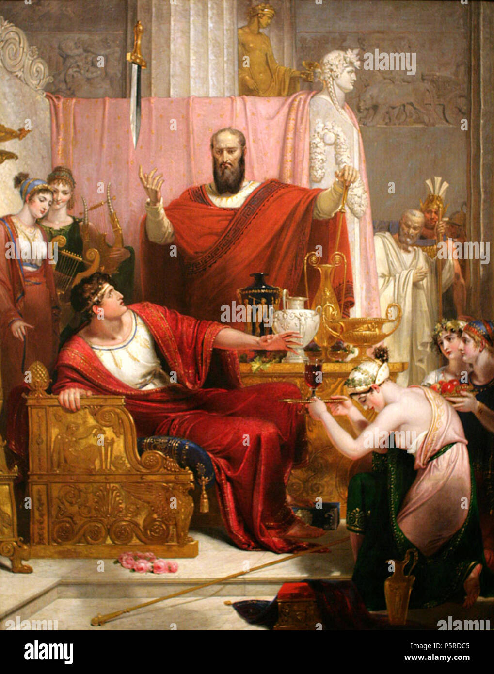 N/A. Sword of Damocles, 1812, oil painting on canvas. Dimensions: 130.0 × 103.0 cm (painting). 1812 (painting), 2008-01-20 (photograph).    Richard Westall (1765–1836)   Description English painter and illustrator  Date of birth/death 2 January 1765 4 December 1836  Location of birth/death Norwich, England London  Work period 1784–1836  Work location London (1779–1826)  Authority control  : Q3109174 VIAF:71662547 ISNI:0000 0000 8393 1177 ULAN:500012476 LCCN:n84229908 NLA:35754047 WorldCat 408 Damocles-WestallPC20080120-8842A Stock Photo