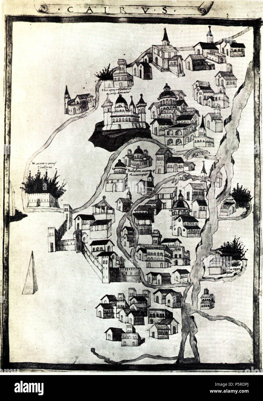 N/A. Deutsch: Historische Karte von Kairo, Ägypten English: Historic map of Cairo, Egypt. 1492. Hartman Schedel (1440-1514) 263 Cairo map1492 schedel - Stock Image