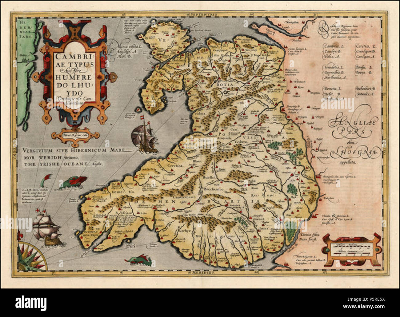 N/A. English: A 1606 version of Humphrey Llwyd's 1573 map of Wales,  Cambriae Typus Edited by Peter Kaerius. 1606. Humphrey Lloyd, edited by  Kaerius 264 ...