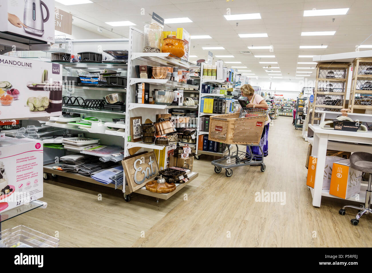 Stuart Florida HomeGoods Discount Home Furnishings Decor Display Sale Shopping Interior Aisle Cart Woman Shelves