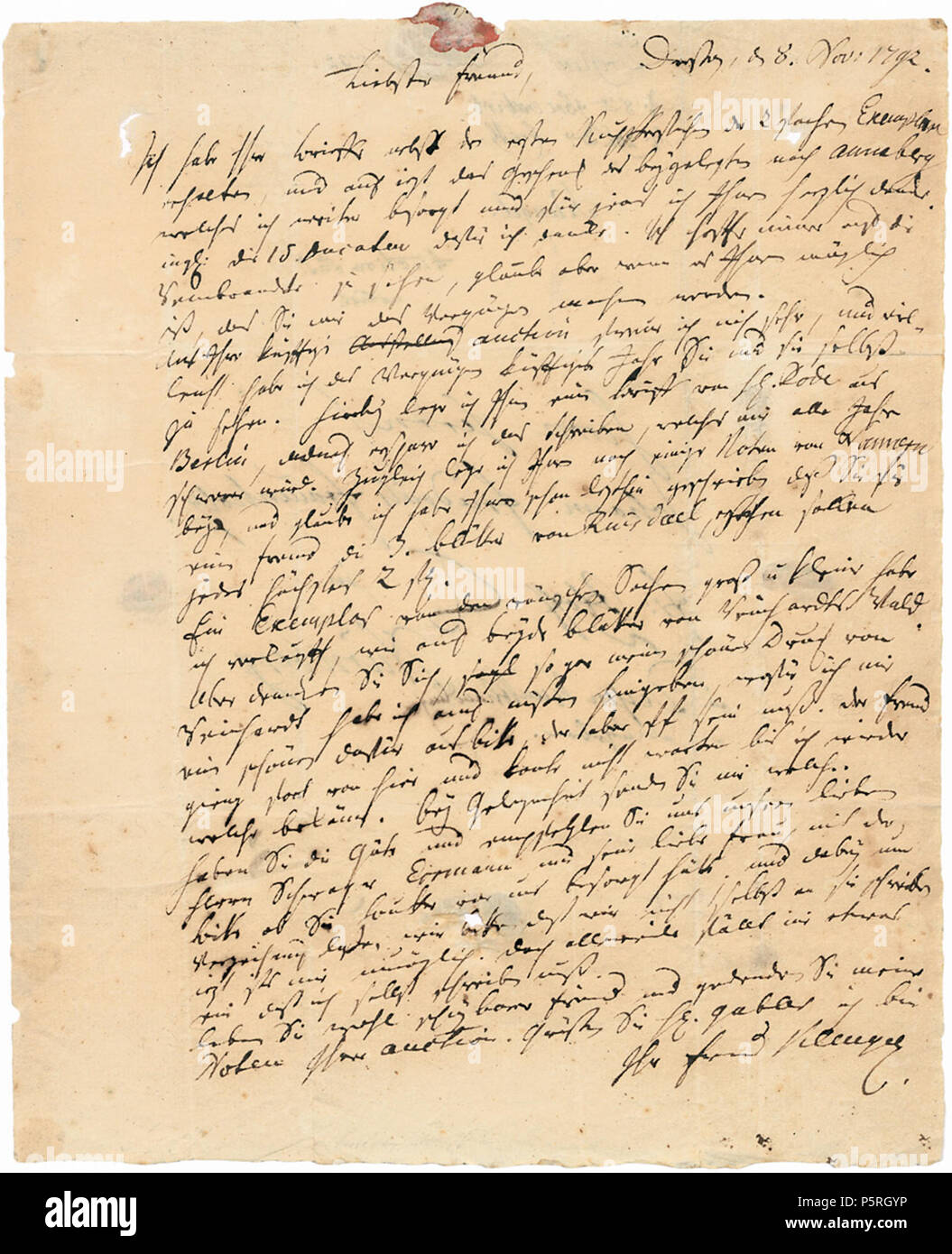 Na Brief Johann Christian Klengel An Den Kunsthändler Friedrich
