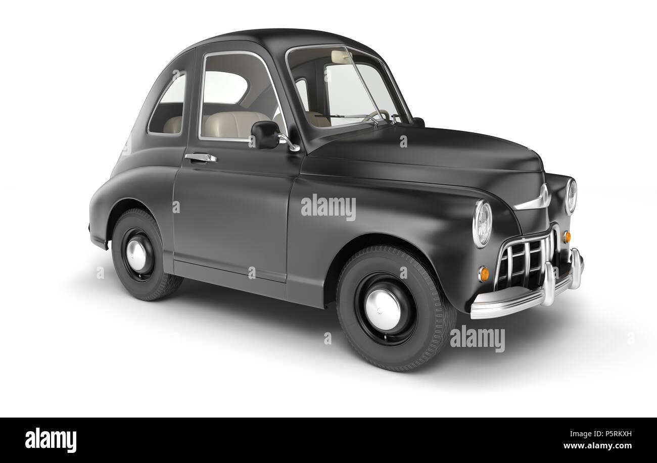 Black cartoon car isolated on white. 3D illustration Stock Photo
