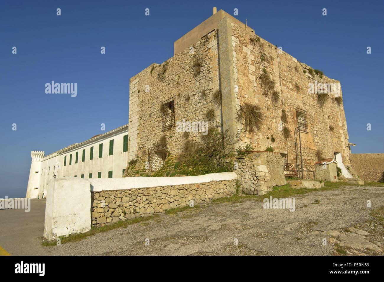 Torre fortificada (s.XVI).Santuario de la Verge de El Toro. Es Mercadal.Menorca.Reserva de la Bioesfera.Illes Balears.España. - Stock Image