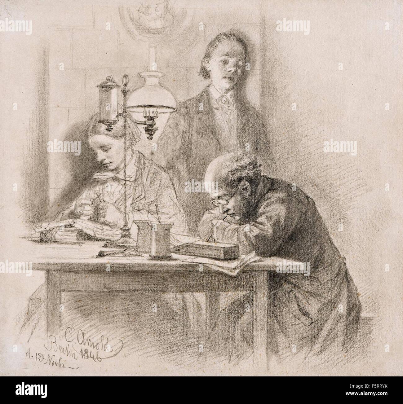 N/A. Deutsch: Adolph Menzel abends beim Schein der Lampe arbeitend . 1846. Carl Johann Arnold (1829-1916) 273 Carl Johann Arnold - Adolph Menzel abends 1846 - Stock Image