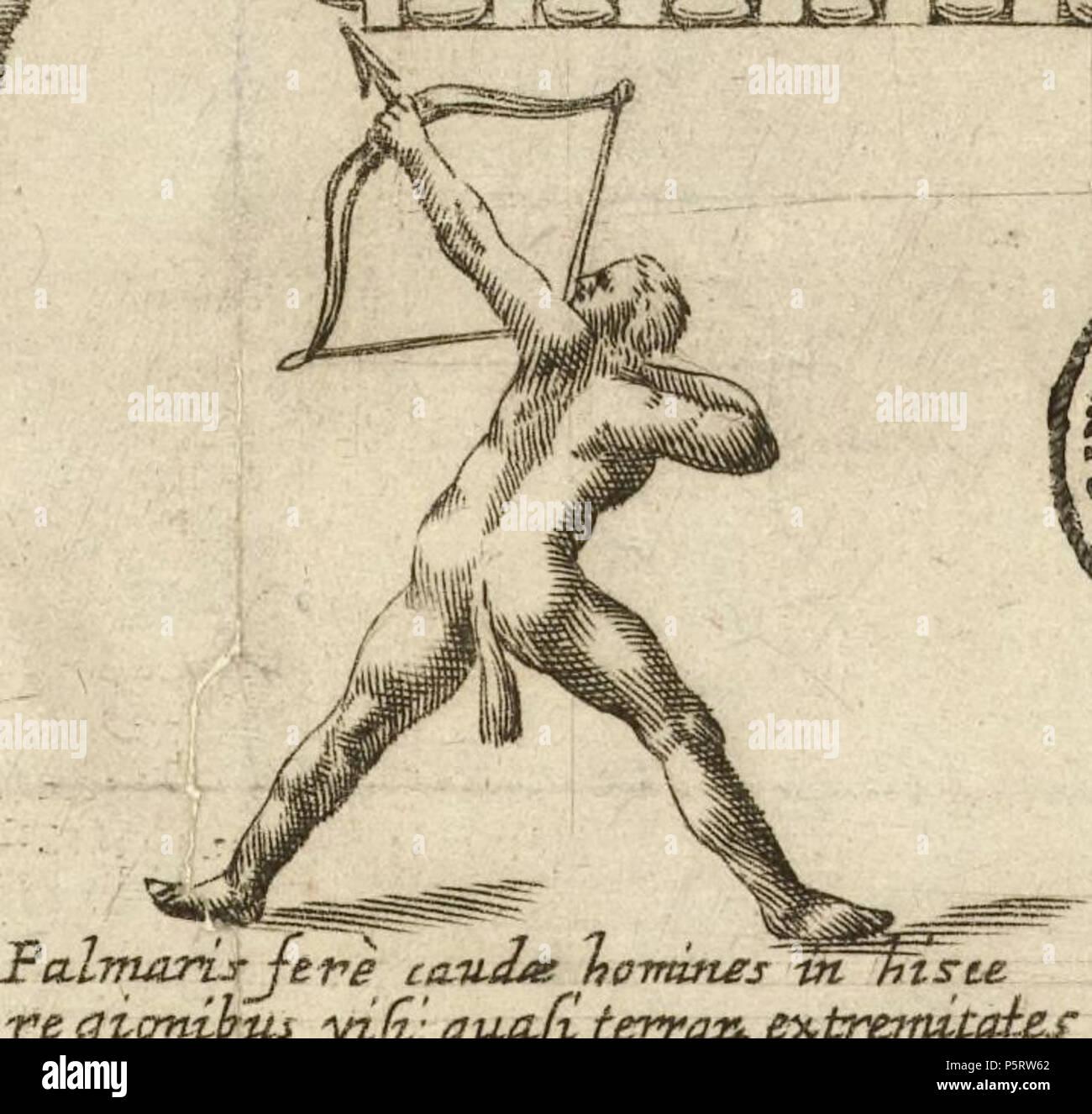 N/A. 'Caudati homines hic', hombres con cola que el mapa de Alonso de Ovalle ubica en las regiones magallánicas. 1646. Carrilano 283 Caudati homines ovalle - Stock Image