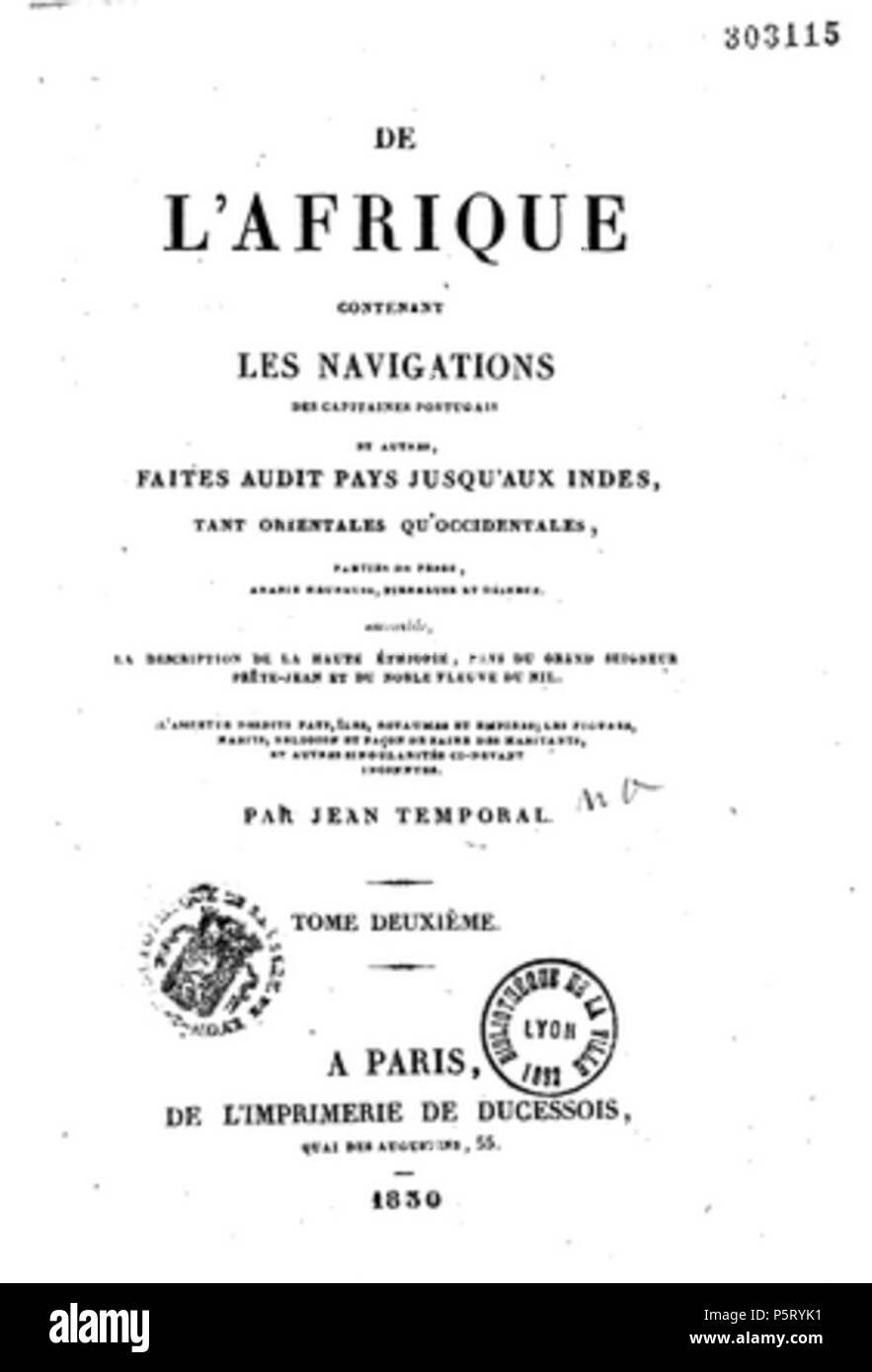 421 De l'Afrique, contenant les navigations des capitaines portugais - Stock Image