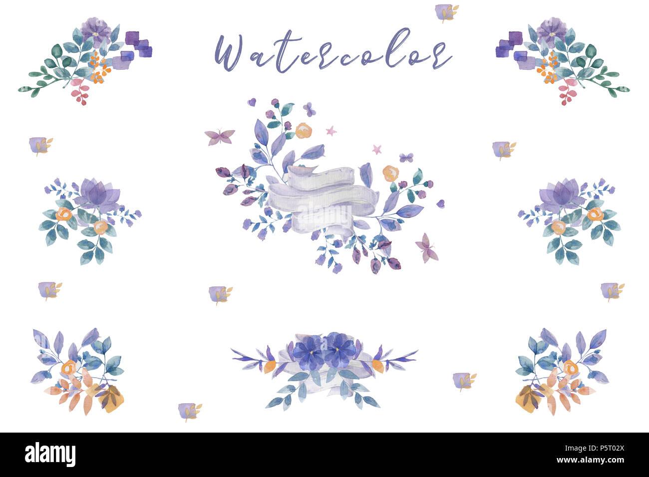 Indigo Watercolor Flowers Bouquet Ready Frames Floral Set Painting