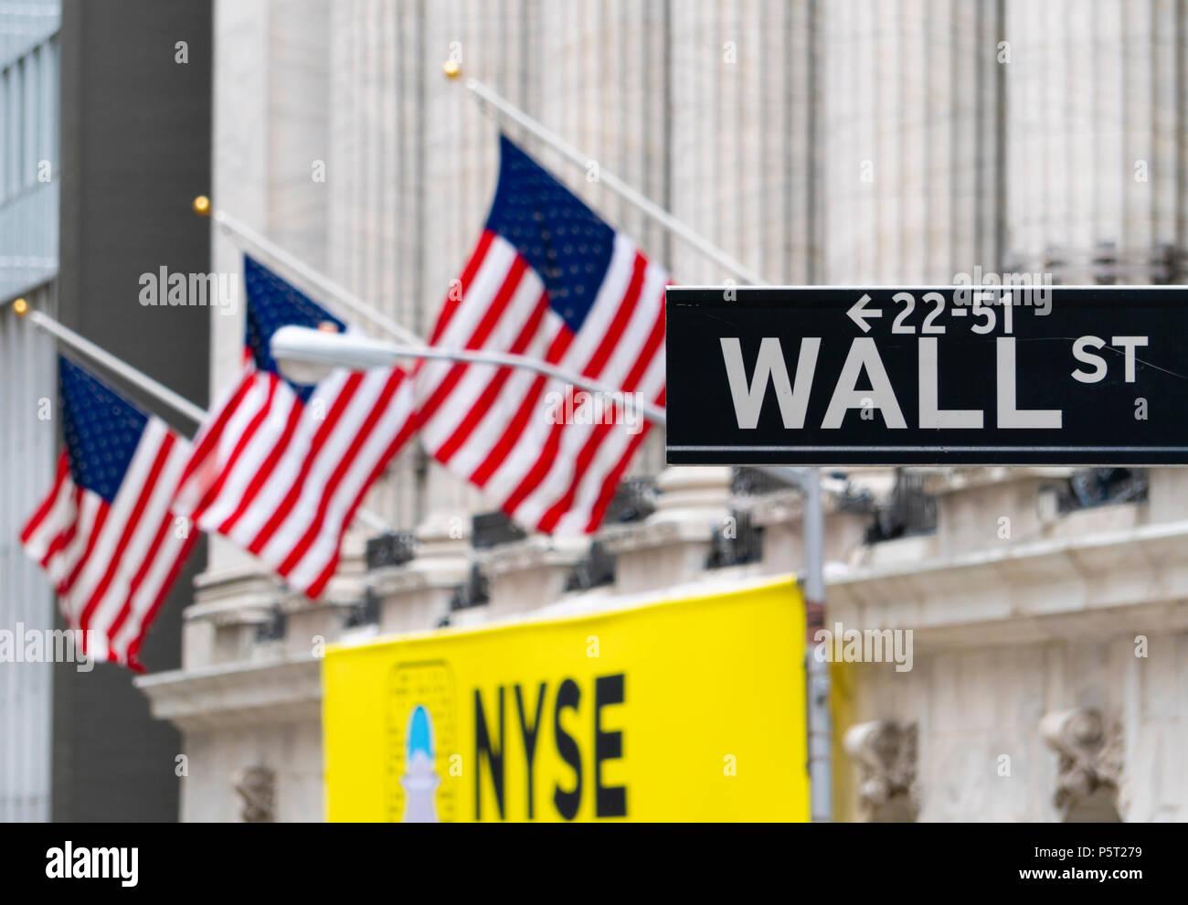 Wall Street sign near New York Stock Exchange - Stock Image